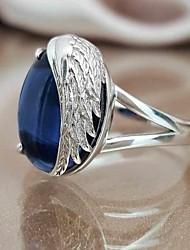 Недорогие -Жен. Кольцо Заявление Синтетический алмаз 1шт Синий Медь Геометрической формы модный Для вечеринок Подарок Бижутерия Крылья ангела Cool