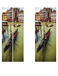 Недорогие -Creative diy 3d-эффект дверные наклейки городской воды шаблон для украшения стены комнаты домашнего декора аксессуары стикер стены