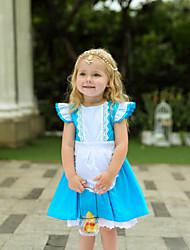 お買い得  -子供 / 幼児 女の子 ヴィンテージ / 甘い パッチワーク 半袖 膝丈 ドレス ブルー