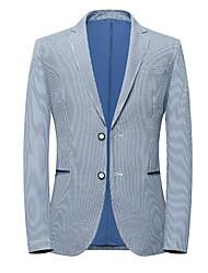 preiswerte -Himmelblau Gestreift Schlanke Passform Polyester Anzug - Fallendes Revers Einreiher - 2 Knöpfe