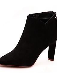ราคาถูก -สำหรับผู้หญิง PU ฤดูใบไม้ร่วง & ฤดูหนาว ไม่เป็นทางการ บูท ส้น Stiletto Pointed Toe รองเท้าบู้ทหุ้มข้อ สีดำ / สีเขียว