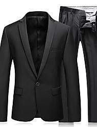 abordables -Noir Couleur Pleine Coupe Slim Polyester Costume - Cranté Droit 1 bouton