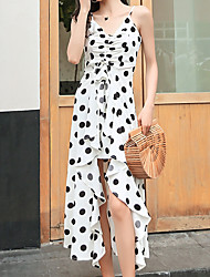 abordables -Femme Midi Balançoire Robe Blanc Noir M L XL Sans Manches