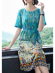 cheap -Women's Sophisticated Elegant Sheath Dress - Geometric Print Green XL XXL XXXL