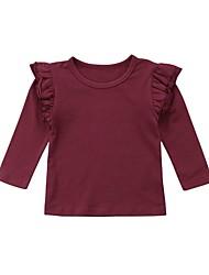 abordables -bébé Fille Actif / Basique Couleur Pleine Manches Longues Coton Chemisier Blanc / Bébé