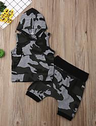 abordables -bébé Garçon Actif / Basique Imprimé Imprimé Sans Manches Normal Coton Ensemble de Vêtements Vert Véronèse / Bébé
