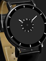 Недорогие -Муж. Нарядные часы Кварцевый Кожа Черный / Белый Повседневные часы Аналоговый Мода минималист Простые часы - Белый Черный Черный / Белый Один год Срок службы батареи / Нержавеющая сталь