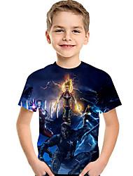 abordables -Enfants / Bébé Garçon Actif / Basique Galaxie / Imprimé Imprimé Manches Courtes Polyester / Spandex Tee-shirts Bleu