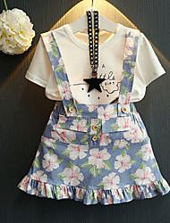 abordables -Enfants / Bébé Fille Actif / Chic de Rue Fleur / Fruit A Volants Manches Courtes Normal Coton Ensemble de Vêtements Blanc