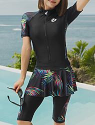 halpa -JIAAO Naisten Skin-tyyppinen märkäpuku Sukelluspuvut Pidä lämpimänä Pitkähihainen Etuvetoketju - Uinti Yhtenäinen Kesä / Erittäin elastinen