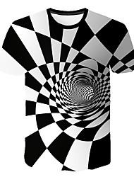 Недорогие -Муж. Футболка Круглый вырез Геометрический принт / 3D Белый / С короткими рукавами