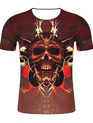 저렴한 -남성용 기하학 / 3D 티셔츠 브라운 XXL