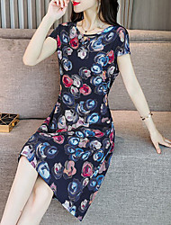 billige -Dame Kineseri Elegant Skede Kjole - Blomstret, Trykt mønster Over knæet