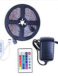 お買い得  -5m フレキシブルLEDライトストリップ / RGBストリップライト 150 LED 5050 SMD 1 24キーリモコン / 1×12V 5A電源 RGB パーティー / 装飾用 / 接続可 12 V 1セット
