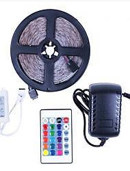 abordables -5m Bandes Lumineuses LED Flexibles / Barrette d'Eclairage RVB 150 LED 5050 SMD 1 24Keys Télécommande / 1 X 12V 5A Alimentation RVB Soirée / Décorative / Connectible 12 V 1 set