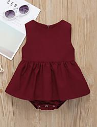 abordables -bébé Fille Actif / Basique Couleur Pleine Lacet Sans Manches Coton Robe Vin