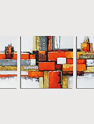 tanie -Hang-Malowane obraz olejny Ręcznie malowane - Abstrakcja Nowoczesny Naciągnięte płótka / Trzy panele