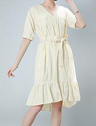 halpa -naisten edellä polvi löysä vaippa mekko v kaula vaaleansininen vihreä beige m l