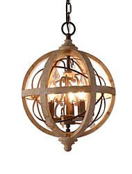 Недорогие -3 люстры винтажная хрустальная люстра / деревянная лампа ретро для кафе-бара огни для столовой / e12 / e14 без лампы k9 crystal