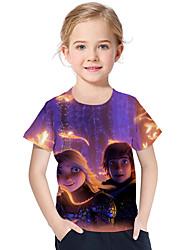 abordables -Enfants / Bébé Fille Actif / Basique Imprimé Imprimé Manches Courtes Polyester / Spandex Tee-shirts Violet