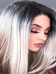 billige -Blondeparykker af menneskehår Kinky Glat Stil Mellemdel Lågløs Paryk Mørkebrun Regnbue Syntetisk hår 26 inch Dame Dame Mørkebrun Paryk Lang Naturlig paryk