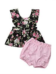 abordables -bébé Fille Actif / Basique Fleur Imprimé Sans Manches Normal Coton Ensemble de Vêtements Noir