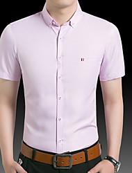 billige -Herre - Ensfarvet Skjorte Hvid XXL