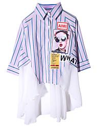 billige -Børn Pige Aktiv Stribet / Farveblok Langærmet Bomuld Skjorte Blå