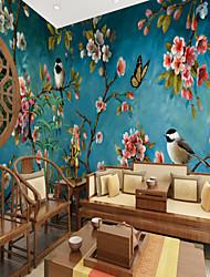 Недорогие -синий фон цветы птицы подходящие для ТВ фон обои на стену фрески гостиная кафе ресторан спальня офис xxxl (448 * 280см
