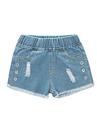abordables -Enfants Fille Basique / Chic de Rue Couleur Pleine Découpé / Troué / Déchiré Coton Jeans Bleu