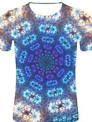 お買い得  -男性用 プリント Tシャツ ロック / 誇張された ストライプ / 3D / グラフィック ブルー XXL