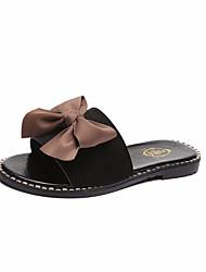 hesapli -Kadın's Ayakkabı Süet Yaz Günlük Terlik & Flip-flops Düz Taban Günlük için Fiyonk Siyah / Bej / Mavi