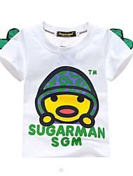 abordables -Enfants Garçon Basique Imprimé Imprimé Manches Courtes Coton / Spandex Tee-shirts Blanc