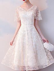 abordables -Mujer Sofisticado Elegante Vaina Gasa Vestido - Encaje Cortado Malla, Floral Geométrico Copo Midi