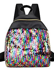 Недорогие -Сияние в темноте Сетка Пайетки рюкзак Повседневные Черный / Серебряный / Цвет радуги