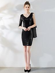 זול -מעטפת \ עמוד צווארון V קצר \ מיני טול / נצנצים שמלה עם נצנצים על ידי LAN TING Express