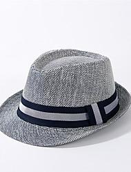 Недорогие -Универсальные Активный Классический Симпатичные Стиль Соломенная шляпа Шляпа от солнца Солома,Контрастных цветов Все сезоны Бежевый Темно синий Хаки