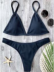 baratos -Mulheres Azul Real Biquíni Roupa de Banho - Sólido S M L Azul Real