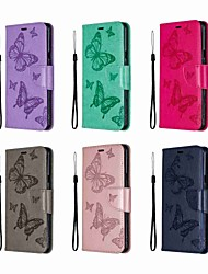 abordables -Funda Para LG LG Stylo 5 Cartera / Antigolpes / con Soporte Funda de Cuerpo Entero Un Color / Mariposa Dura Cuero de PU para LG Stylo 5