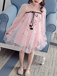 cheap -Kids Toddler Girls' Sweet Cute Solid Colored Bow Layered Mesh Long Sleeve Asymmetrical Cotton Polyester Nylon Dress Blushing Pink