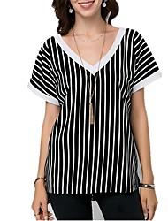 abordables -Mujer Básico / Tejido Oriental Espalda al Aire Camiseta A Rayas Negro US4