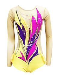olcso -Ritmikus tornadressz Művészi tornadressz Női Lány Dressz Sárga Nagy rugalmasságú Kézzel készített Nyomtatott Gyémánt Ujjatlan Verseny Ritmikus gimnasztika Művészi torna