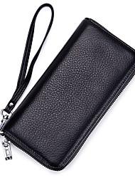 cheap -Unisex Bags Cowhide Wristlet Zipper Solid Color Black / Gray / Wine