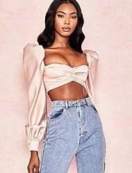 baratos -Mulheres Camisa Social Sólido Rosa US00
