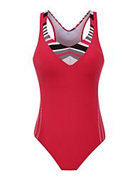 ราคาถูก -สำหรับผู้หญิง สีดำ ทับทิม สีน้ำเงินกรมท่า ชิ้นหนึ่ง ชุดว่ายน้ำ - ลายบล็อคสี L XL XXL สีดำ