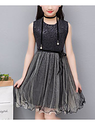 cheap -Kids Girls' Active Sophisticated Solid Colored Patchwork Sequins Sleeveless Above Knee Cotton Spandex Dress Black