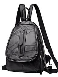 ราคาถูก -สำหรับผู้หญิง ซิป กระเป๋าเป้สะพายหลัง Large Capacity PU สีดำ