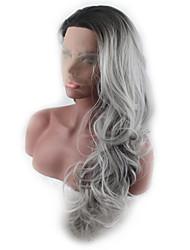 povoljno -Perike s ljudskom kosom Tijelo Wave Stil Srednji dio Lace Front Perika Zlatna Crna / Bijela Srebro Sintentička kosa 26 inch Žene Žene Zlatna Perika Dug Prirodna perika