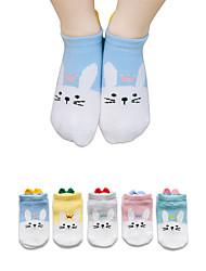 abordables -5 paires Enfants / Bébé Unisexe / Fille Actif / Doux Bleu & blanc Animal Motif des animaux Spandex / Coton biologique Sacs Blanc S / M / XL