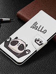 baratos -Capinha Para Samsung Galaxy Galaxy A50(2019) / Samsung Galaxy A70 (2019) Carteira / Porta-Cartão / Com Suporte Capa Proteção Completa Panda Rígida PU Leather para Galaxy A7(2018) / Galáxia A10 (2019